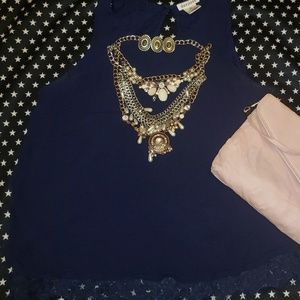 Dizzy Lizzy Navy Blue Lace Sleeveless Top